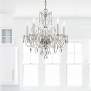 1005-CH-CL-SAQ Crystorama Traditional Crystal 5 Light Spectra Crystal Chrome Chandelier