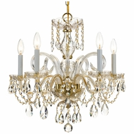 1005-PB-CL-MWP Crystorama Traditional Crystal 5 Light Crystal Brass Chandelier