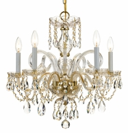 1005-PB-CL-SAQ Crystorama Traditional Crystal 5 Light Spectra Crystal Brass Chandelier