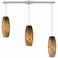 10079/3L-RV ELK Lighting Vortex 3-Light Linear Pendant Fixture in Satin Nickel with Rainbow Glass
