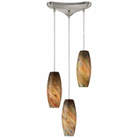 10079/3RV ELK Lighting Vortex 3-Light Triangular Pendant Fixture in Satin Nickel with Rainbow Glass