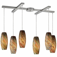 10079/6RV ELK Lighting Vortex 6-Light H-Bar Pendant Fixture in Satin Nickel with Rainbow Glass