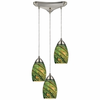 10089/3EVG ELK Lighting Vortex 3-Light Triangular Pendant Fixture in Satin Nickel with Multi-colored Glass