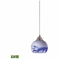 101-1MT-LED ELK Lighting Mela 1-Light Mini Pendant in Satin Nickel with Hand-blown Mountain Glass - Includes LED Bulb
