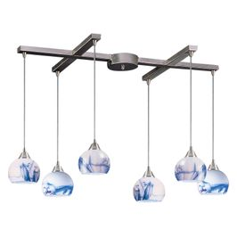 101-6MT ELK Lighting Mela 6-Light H-Bar Pendant Fixture in Satin Nickel with Hand-blown Mountain Glass