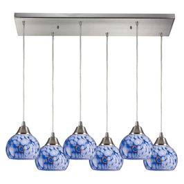 101-6RC-BL Elk Mela 6 Light Mini Pendant In Satin Nickel And Starburst Blue Glass