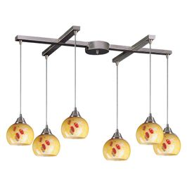 101-6YW Elk Mela 6 Light Mini Pendant In Satin Nickel And Yellow Blaze Glass