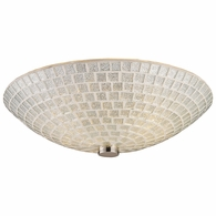 10139/2SLV ELK Lighting Fusion 2-Light Semi Flush in Satin Nickel with Silver Mosaic Glass