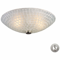 10139/2WHT-LA ELK Lighting Fusion 2-Light Semi Flush in Satin Nickel with White Mosaic Glass - Includes Adapter Kit