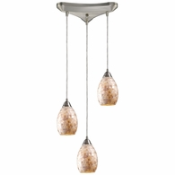 10141/3 ELK Lighting Capri 3-Light Triangular Pendant Fixture in Satin Nickel with Capiz Shell Glass