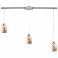 10141/3L ELK Lighting Capri 3-Light Linear Pendant Fixture in Satin Nickel with Capiz Shell Glass