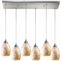 10141/6RC ELK Lighting Capri 6-Light Rectangular Pendant Fixture in Satin Nickel with Capiz Shell Glass