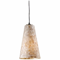 10142/1 ELK Lighting Capri 1-Light Mini Pendant in Satin Nickel with Capiz Shell Glass