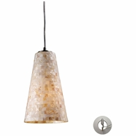 10142/1-LA ELK Lighting Capri 1-Light Mini Pendant in Satin Nickel with Capiz Shell Glass - Includes Adapter Kit