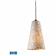 10142/1-LED ELK Lighting Capri 1-Light Mini Pendant in Satin Nickel with Capiz Shell Glass - Includes LED Bulb