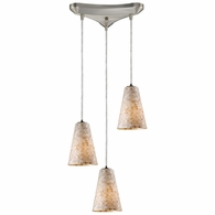 10142/3 ELK Lighting Capri 3-Light Triangular Pendant Fixture in Satin Nickel with Capiz Shell Glass