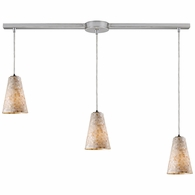 10142/3L ELK Lighting Capri 3-Light Linear Pendant Fixture in Satin Nickel with Capiz Shell Glass