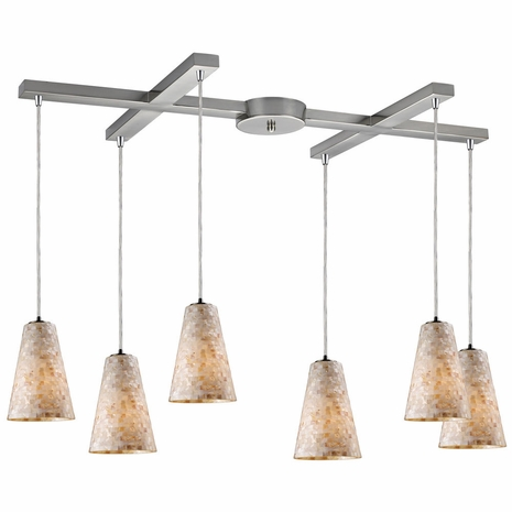 10142/6 ELK Lighting Capri 6-Light H-Bar Pendant Fixture in Satin Nickel with Capiz Shell Glass