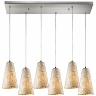 10142/6RC ELK Lighting Capri 6-Light Rectangular Pendant Fixture in Satin Nickel with Capiz Shell Glass
