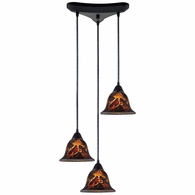 10144/3FS ELK Lighting Firestorm 3-Light Triangular Pendant Fixture in Dark Rust with Firestorm Glass