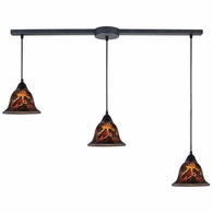 10144/3L-FS ELK Lighting Firestorm 3-Light Linear Pendant Fixture in Dark Rust with Firestorm Glass