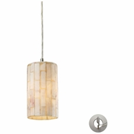 10147/1-LA ELK Lighting Coletta 1-Light Mini Pendant in Satin Nickel with Genuine Stone Shade - Includes Adapter Kit