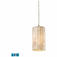 10147/1-LED ELK Lighting Coletta 1-Light Mini Pendant in Satin Nickel with Genuine Stone Shade - Includes LED Bulb