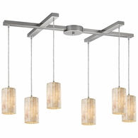 10147/6 ELK Lighting Coletta 6-Light H-Bar Pendant Fixture in Satin Nickel with Genuine Stone Shade