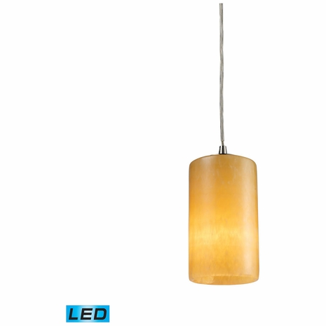 10169/1-LED ELK Lighting Coletta 1-Light Mini Pendant in Satin Nickel with Genuine Stone Shade - Includes LED Bulb