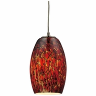 10220/1EMB ELK Lighting Maui 1-Light Mini Pendant in Satin Nickel with Embers Glass