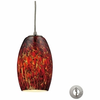 10220/1EMB-LA ELK Lighting Maui 1-Light Mini Pendant in Satin Nickel with Embers Glass - Includes Adapter Kit
