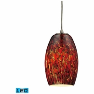 10220/1EMB-LED ELK Lighting Maui 1-Light Mini Pendant in Satin Nickel with Embers Glass - Includes LED Bulb