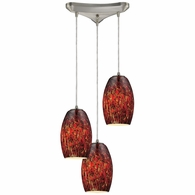 10220/3EMB ELK Lighting Maui 3-Light Triangular Pendant Fixture in Satin Nickel with Embers Glass