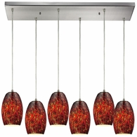 10220/6RC-EMB ELK Lighting Maui 6-Light Rectangular Pendant Fixture in Satin Nickel with Embers Glass