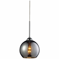 10240/1CHR ELK Lighting Cassandra 1-Light Mini Pendant in Polished Chrome with Chrome-plated Glass