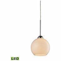 10240/1WH-LED ELK Lighting Cassandra 1-Light Mini Pendant in Polished Chrome with White Glass - Includes LED Bulb