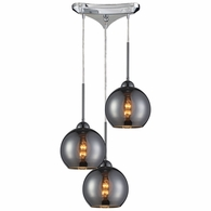 10240/3CHR ELK Lighting Cassandra 3-Light Triangular Pendant Fixture in Polished Chrome with Chrome-plated Glass