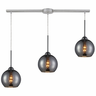 10240/3L-CHR ELK Lighting Cassandra 3-Light Linear Pendant Fixture in Polished Chrome with Chrome-plated Glass