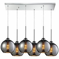10240/6RC-CHR ELK Lighting Cassandra 6-Light Rectangular Pendant Fixture in Polished Chrome with Chrome-plated Glass