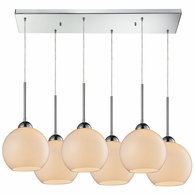 10240/6RC-WH ELK Lighting Cassandra 6-Light Rectangular Pendant Fixture in Polished Chrome with White Glass