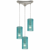 10242/3AQ ELK Lighting Ice Fragments 3-Light Triangular Pendant Fixture in Satin Nickel with Aqua Glass