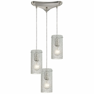 10242/3CL ELK Lighting Ice Fragments 3-Light Triangular Pendant Fixture in Satin Nickel with Clear Glass