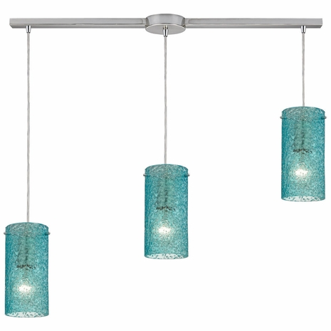 10242/3L-AQ ELK Lighting Ice Fragments 3-Light Linear Pendant Fixture in Satin Nickel with Aqua Glass
