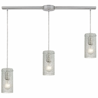 10242/3L-CL ELK Lighting Ice Fragments 3-Light Linear Pendant Fixture in Satin Nickel with Clear Glass
