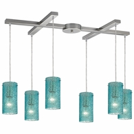 10242/6AQ ELK Lighting Ice Fragments 6-Light H-Bar Pendant Fixture in Satin Nickel with Aqua Glass