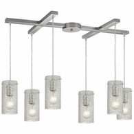 10242/6CL ELK Lighting Ice Fragments 6-Light H-Bar Pendant Fixture in Satin Nickel with Clear Glass