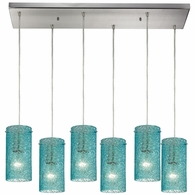 10242/6RC-AQ ELK Lighting Ice Fragments 6-Light Rectangular Pendant Fixture in Satin Nickel with Aqua Glass