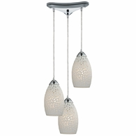 10245/3 ELK Lighting Etched Glass 3-Light Triangular Pendant Fixture in Polished Chrome with White Etched Glass
