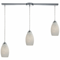 10245/3L ELK Lighting Etched Glass 3-Light Linear Pendant Fixture in Polished Chrome with White Etched Glass