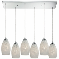10245/6RC ELK Lighting Etched Glass 6-Light Rectangular Pendant Fixture in Polished Chrome with White Etched Glass